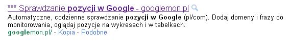 Tytuł strony w wynikach Google